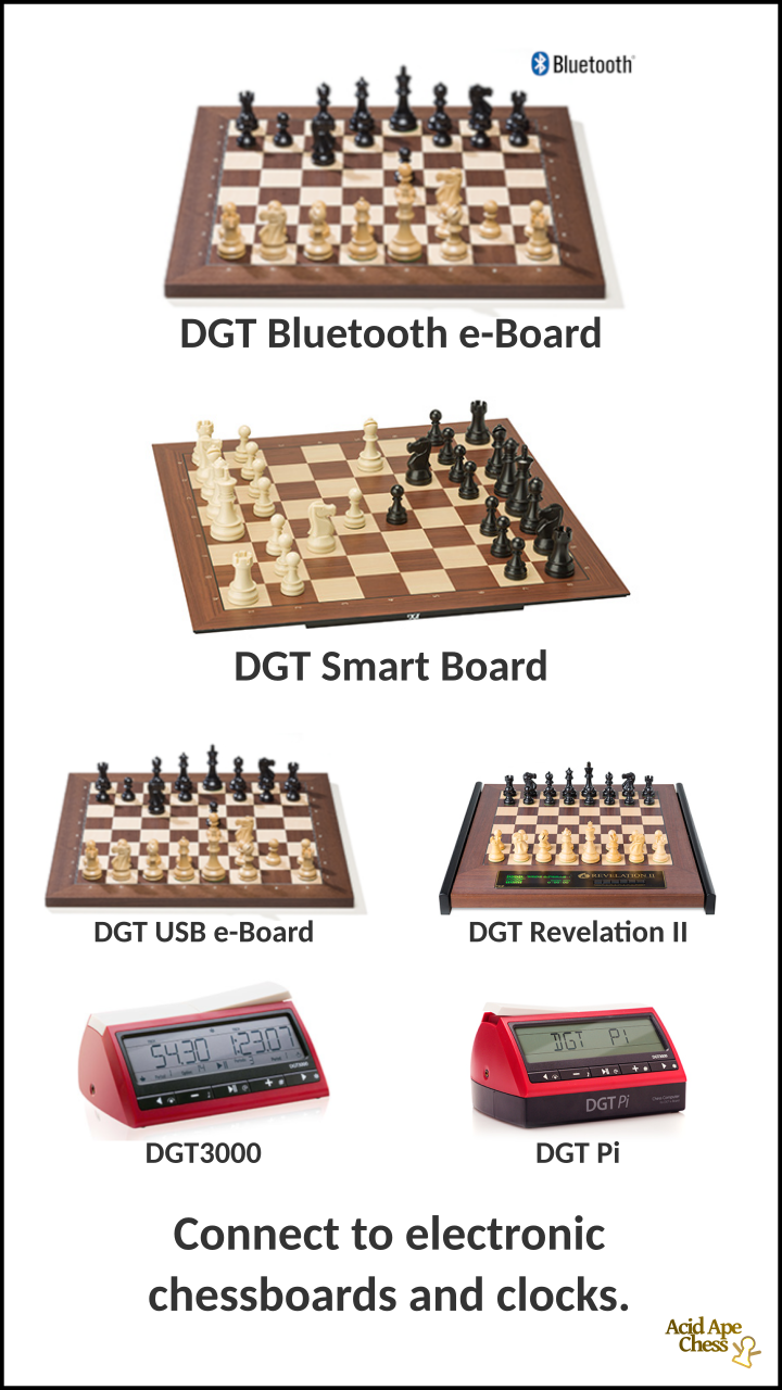 Connect to electronic chessboards and clocks.
