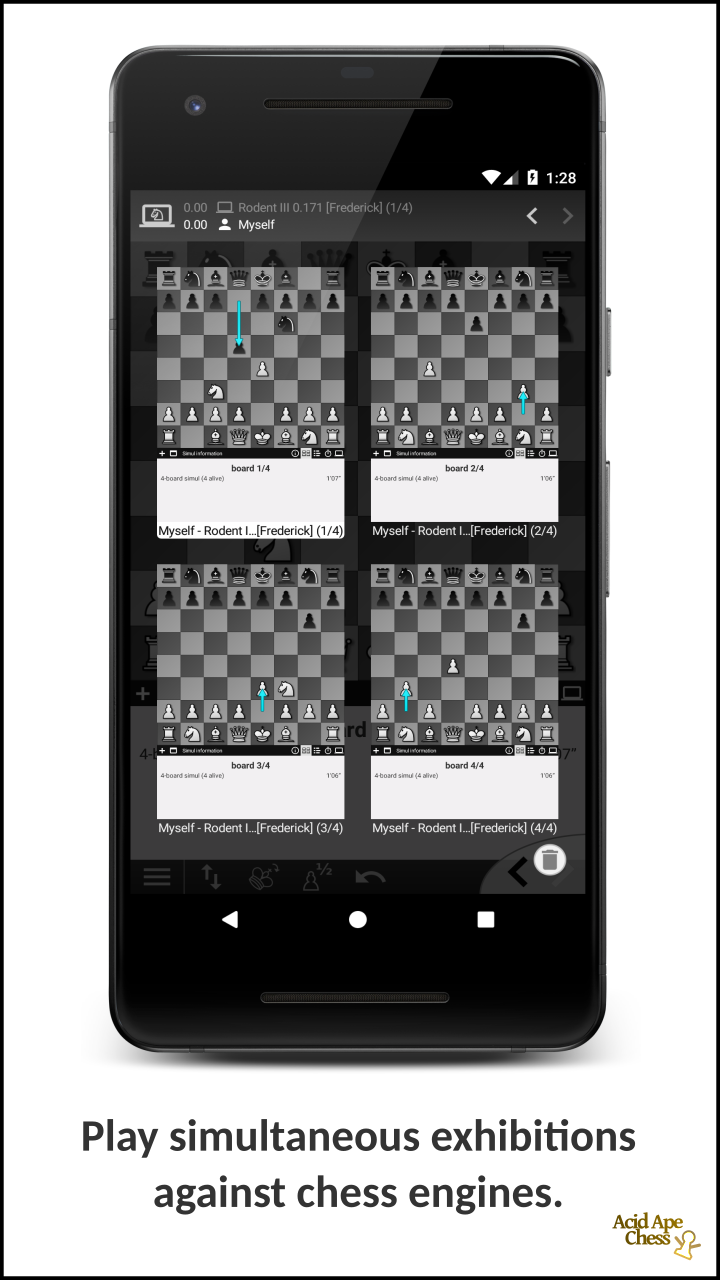 Play simultaneous exhibitions against chess engines.